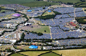 aerial view of glastonbury festival