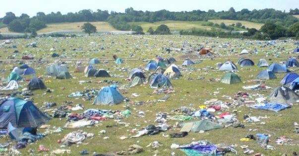 Glastonbury discarded tents