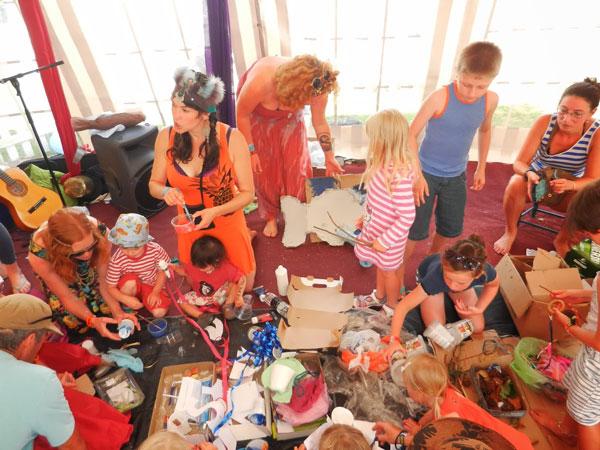 Families enjoying arts & crafts.