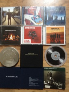A snapshot of my husbands Embrace music collection.