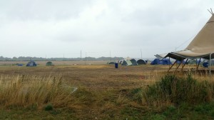 Sunday afternoon on the camping field, only a brave few remained