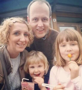 Kirsty Sharrock with husband Fred, Evelyn (6) and Martha (3)