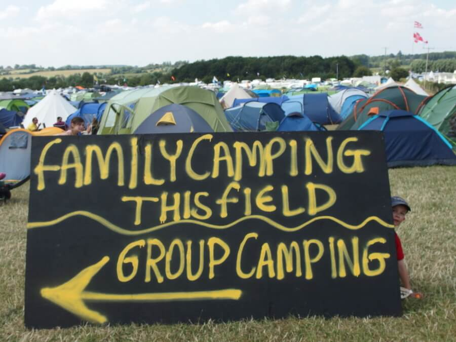 Family camping sign