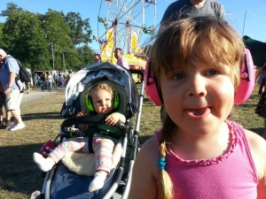Martha and big sister Evelyn, ready for their first festival