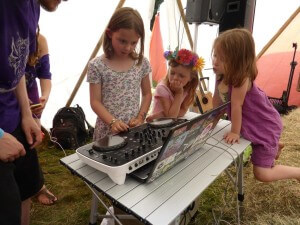Eloise on the decks, learning to DJ