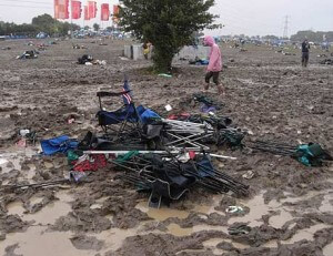 broken camping equipment at festival