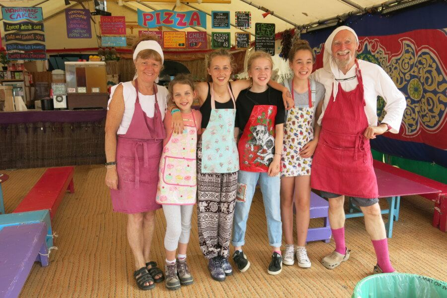 Clare and Nicky from Pizza Tabun with the Festival Kidz Crew - Larmer tree Festival 2016