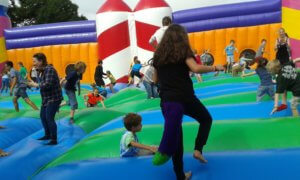 Bouncing on the world's biggest bouncy castle