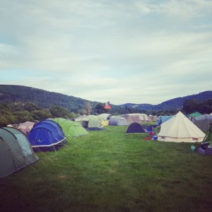 The view from our tent, plenty of space and plus skies and mountains