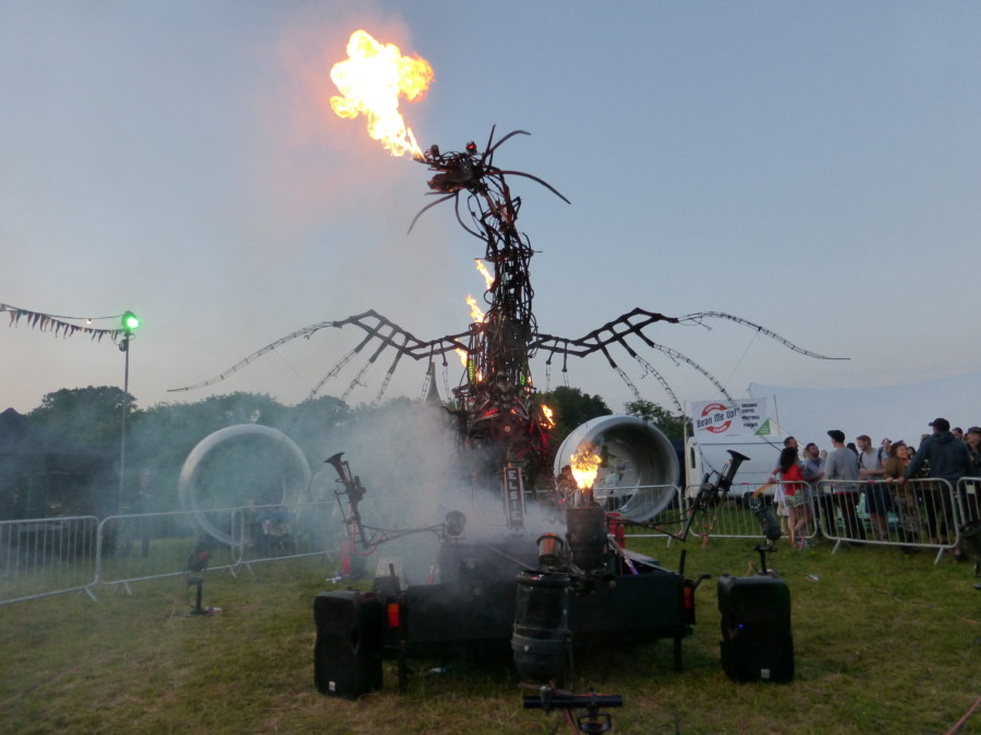 Fire breathing metal dragon