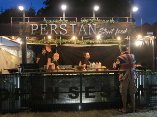 Persian food trader at Larmer Tree 2018