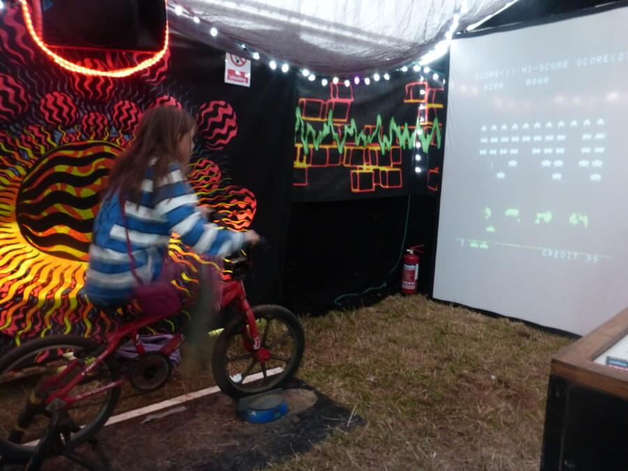 Pedal powered space invaders at Boomtown