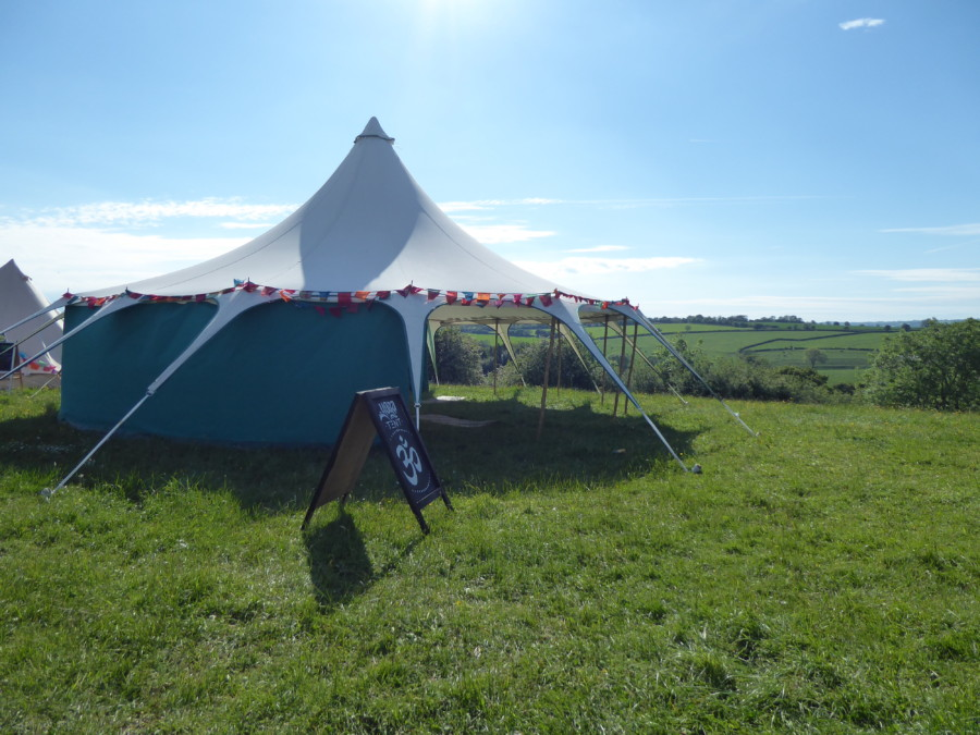 Yoga tent with a view at shindig